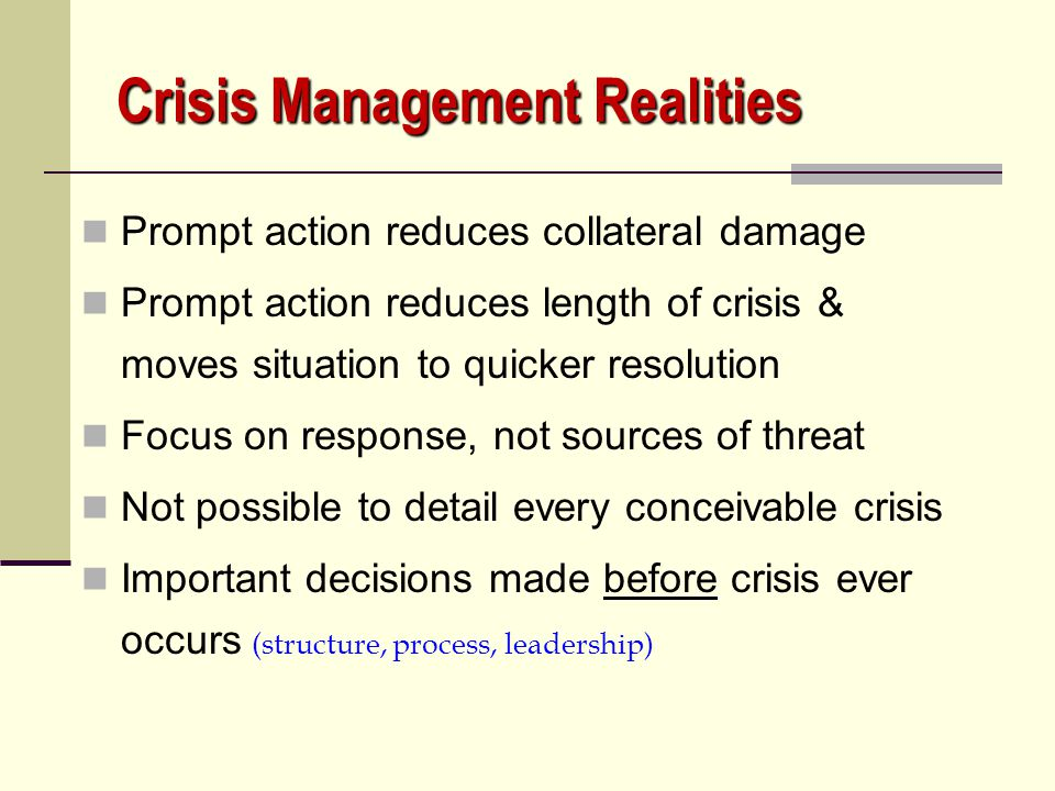 Crisis Management Realities