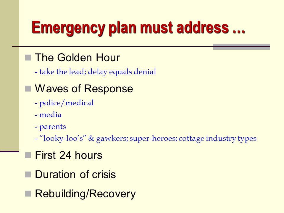 Emergency plan must address …