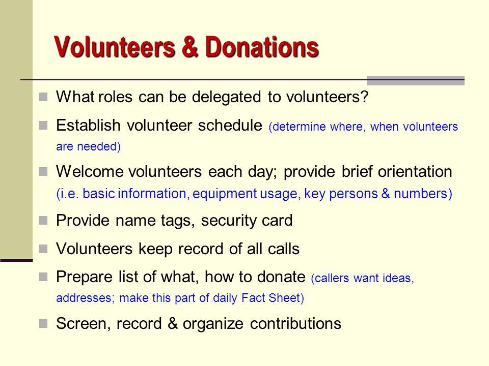 Volunteers & Donations