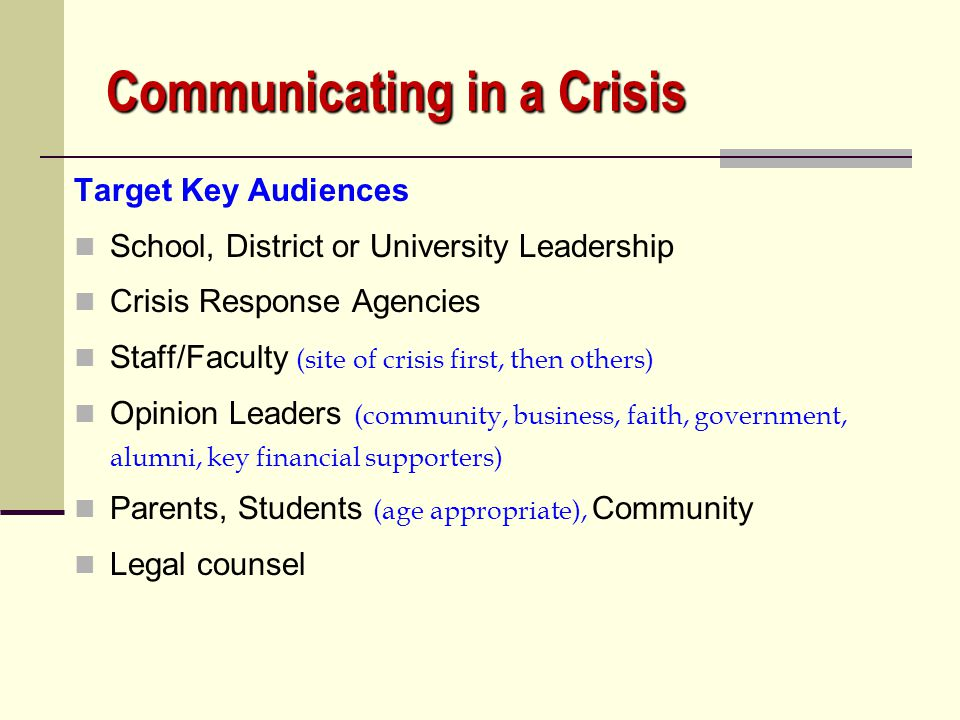 Communicating in a Crisis