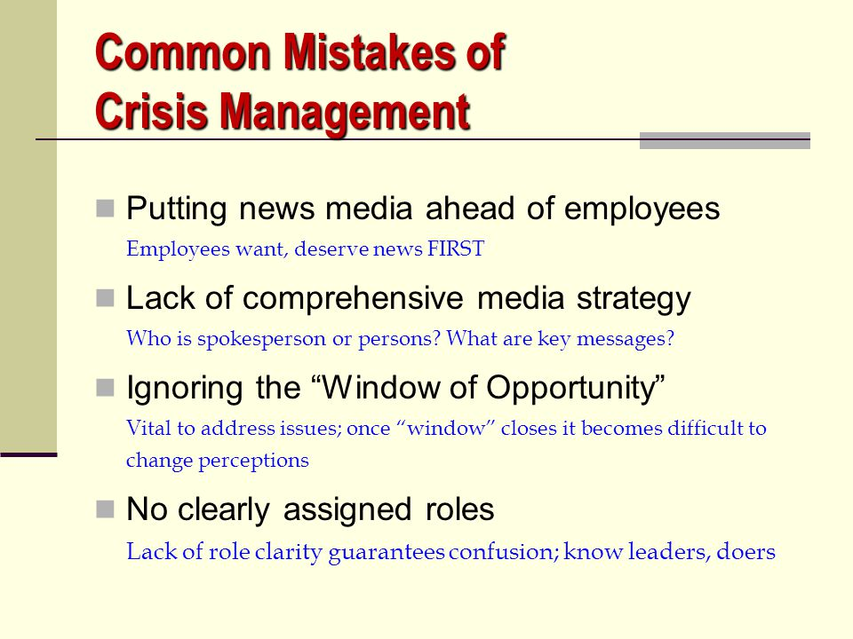 Common Mistakes of Crisis Management