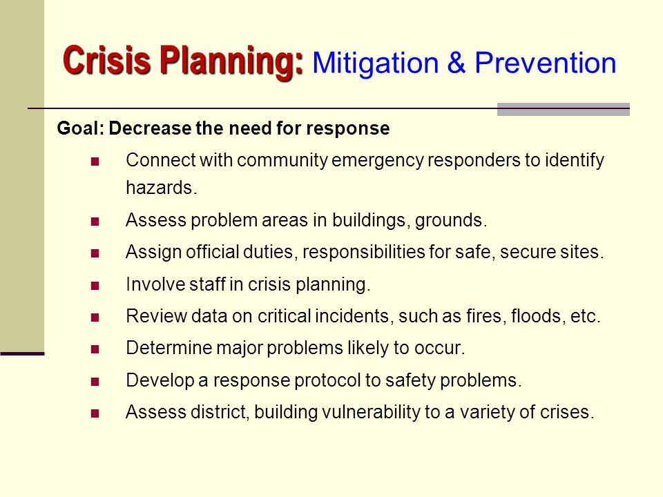 Crisis Planning: Mitigation & Prevention