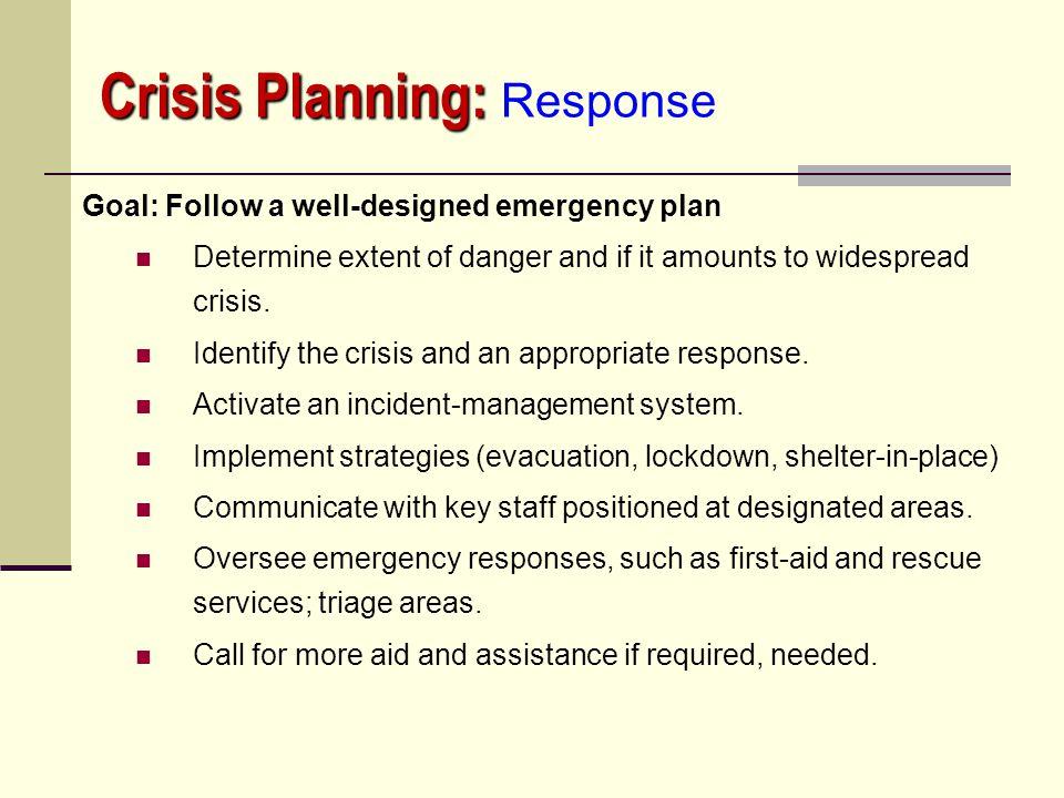 Crisis Planning: Response