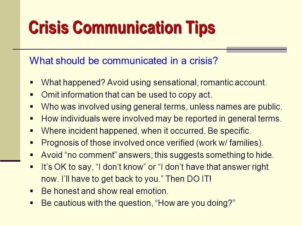 Crisis Communication Tips