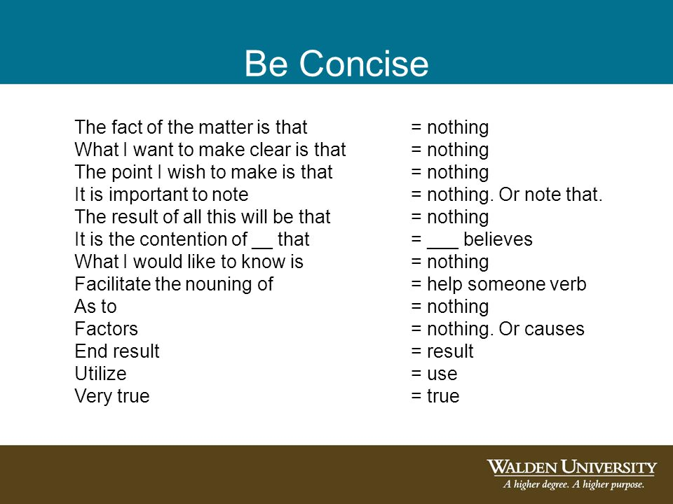 Be Concise The fact of the matter is that = nothing