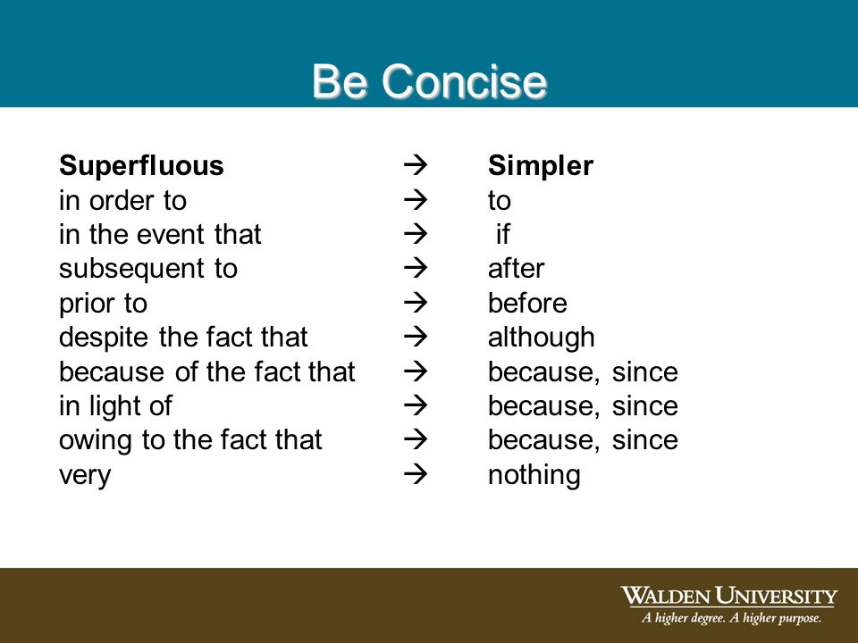 Be Concise Superfluous  Simpler in order to  to