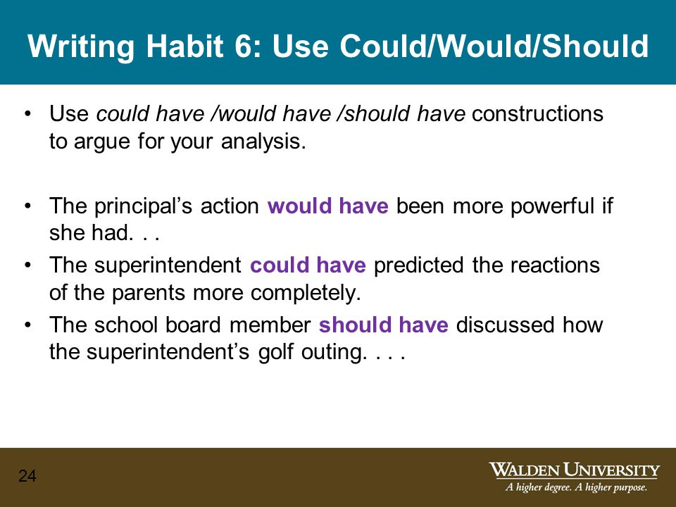 Writing Habit 6: Use Could/Would/Should