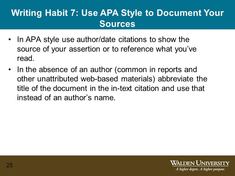 Writing Habit 7: Use APA Style to Document Your Sources