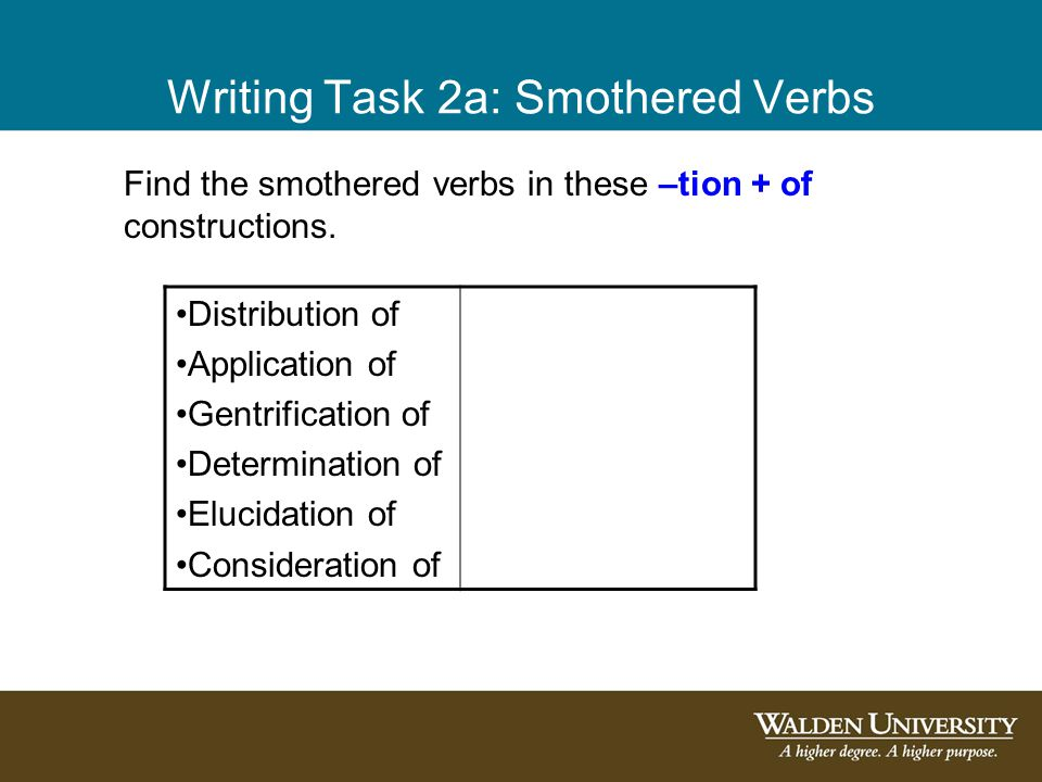 Writing Task 2a: Smothered Verbs