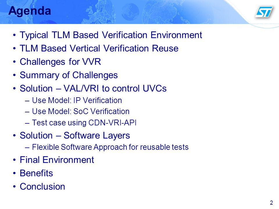 Agenda Typical TLM Based Verification Environment