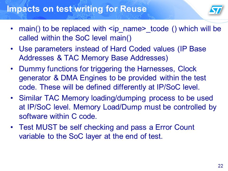 Impacts on test writing for Reuse