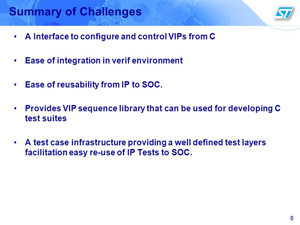 Summary of Challenges A Interface to configure and control VIPs from C