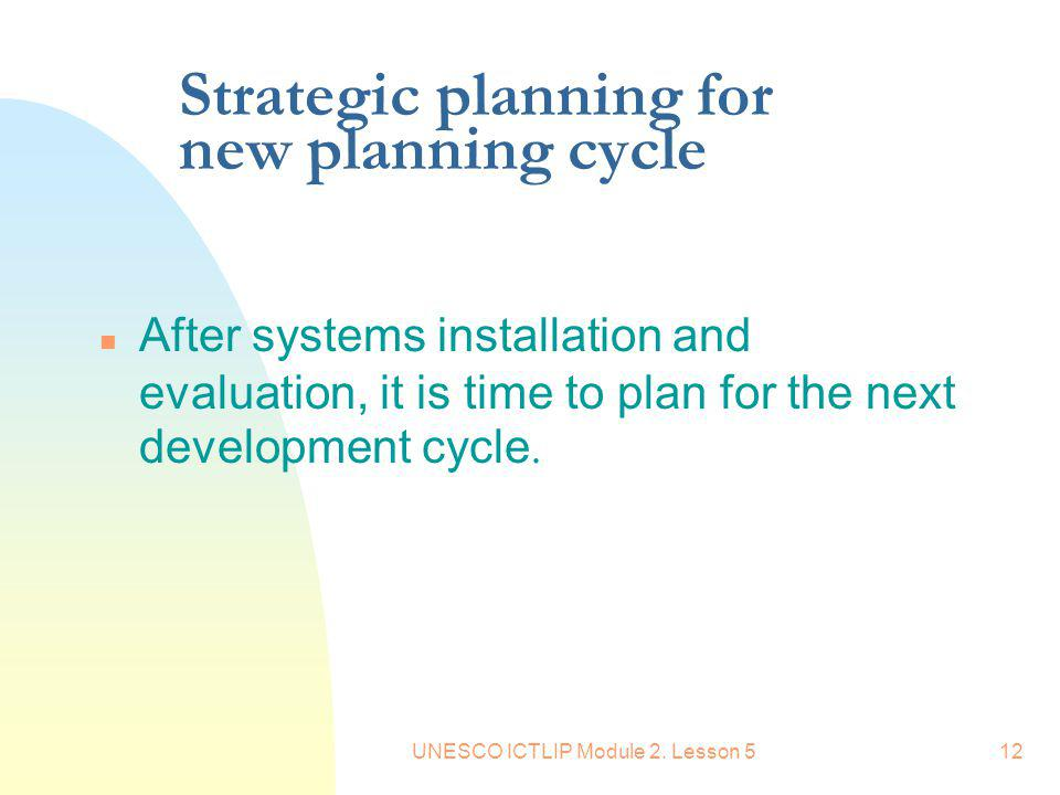 Strategic planning for new planning cycle