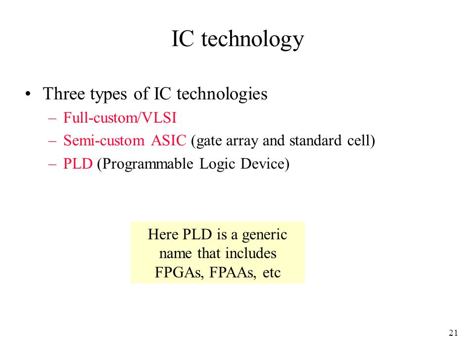 Here PLD is a generic name that includes FPGAs, FPAAs, etc