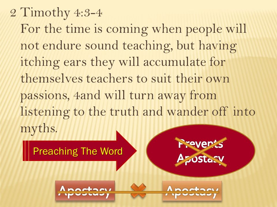 2 Timothy 4:3-4 For the time is coming when people will not endure sound teaching, but having itching ears they will accumulate for themselves teachers to suit their own passions, 4and will turn away from listening to the truth and wander off into myths.