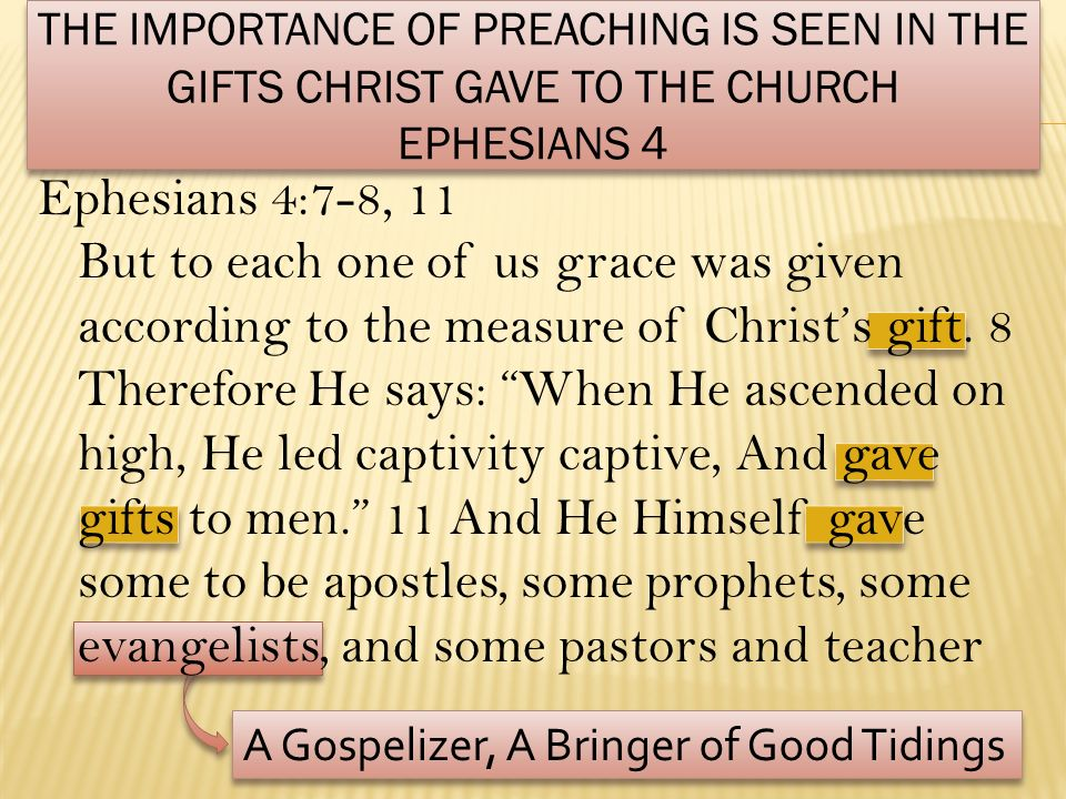 The Importance of preaching IS seen In The Gifts Christ gave to the church Ephesians 4