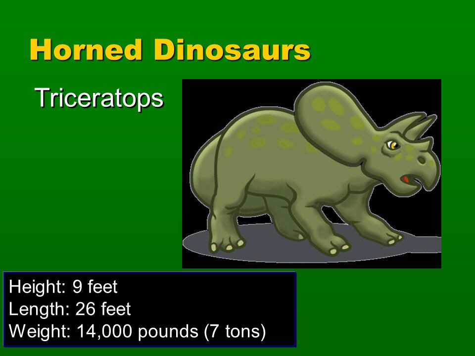 Horned Dinosaurs Triceratops Height: 9 feet Length: 26 feet
