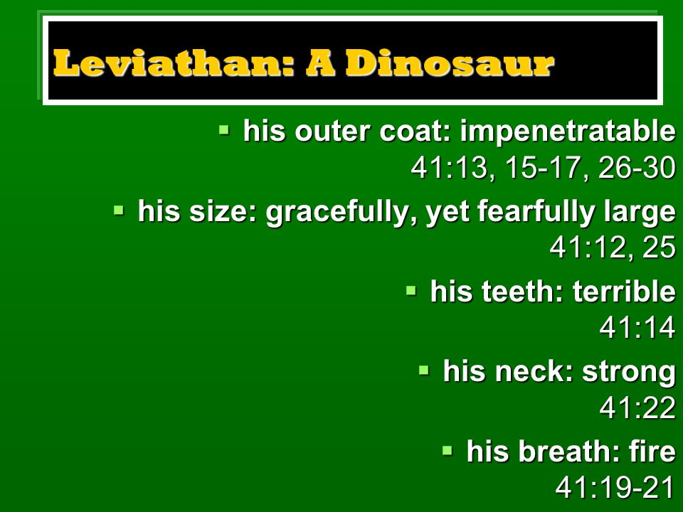 Leviathan: A Dinosaur his outer coat: impenetratable 41:13, 15-17, his size: gracefully, yet fearfully large 41:12, 25.