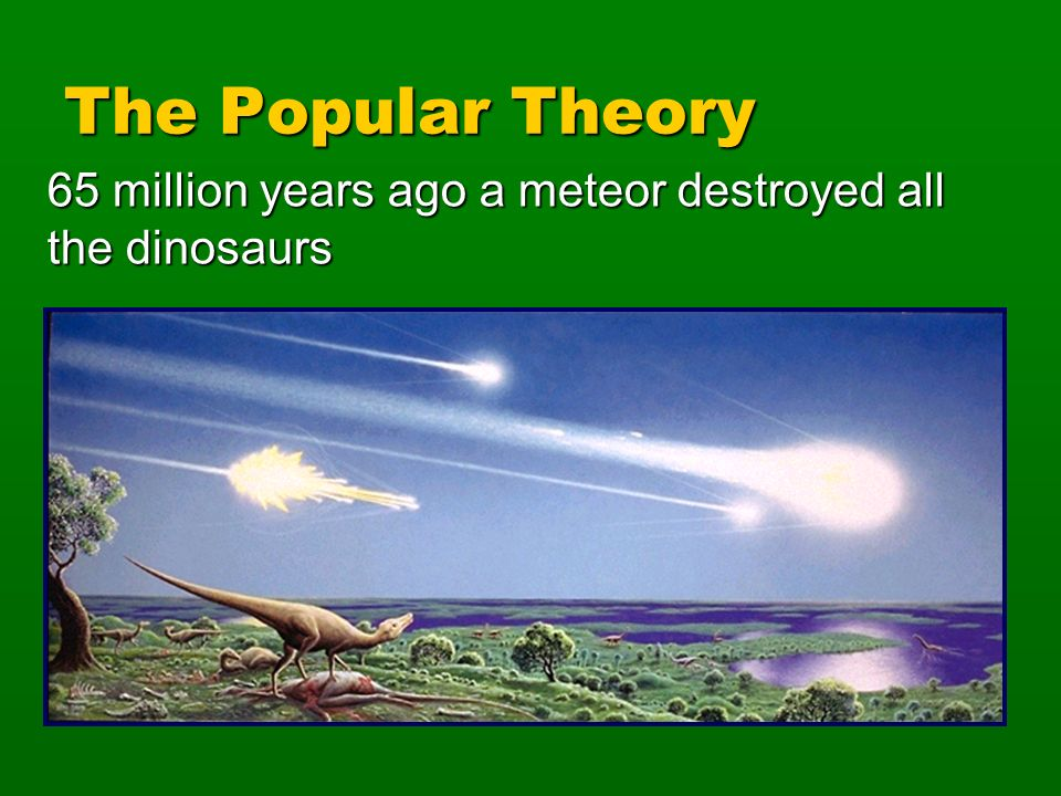 The Popular Theory 65 million years ago a meteor destroyed all the dinosaurs