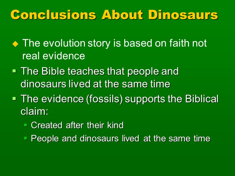 Conclusions About Dinosaurs