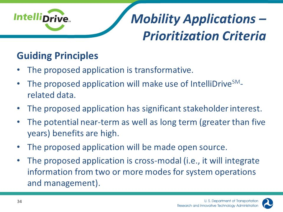 Mobility Applications – Prioritization Criteria