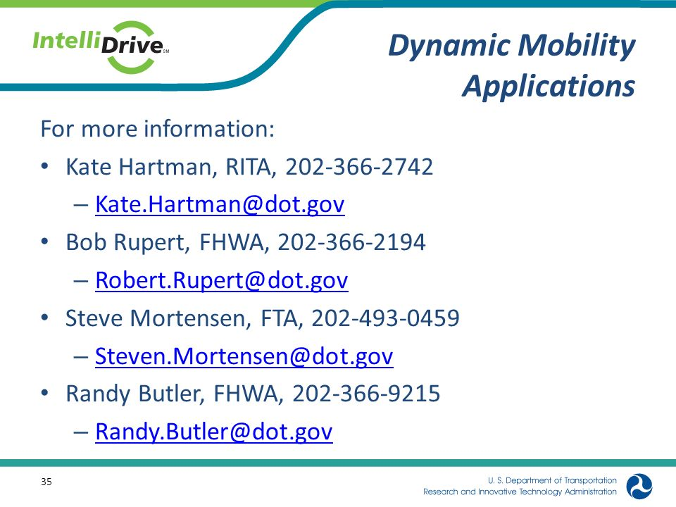 Dynamic Mobility Applications