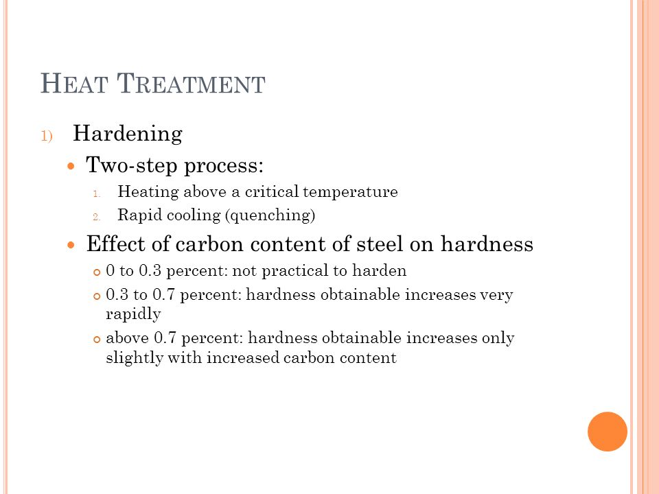 Heat Treatment Hardening Two-step process: