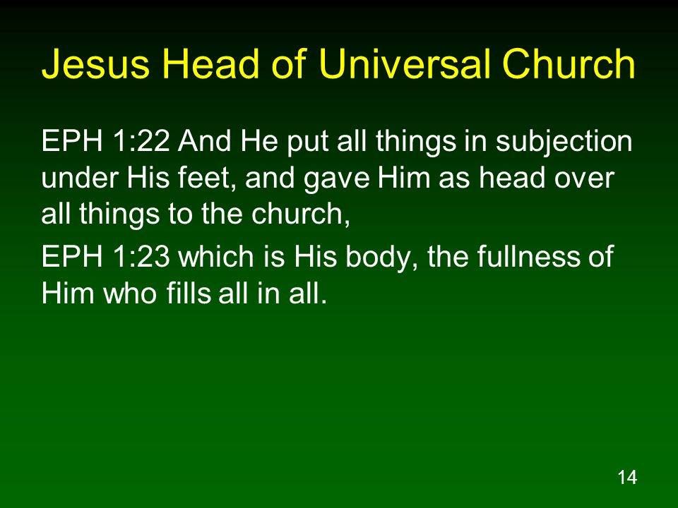 Jesus Head of Universal Church