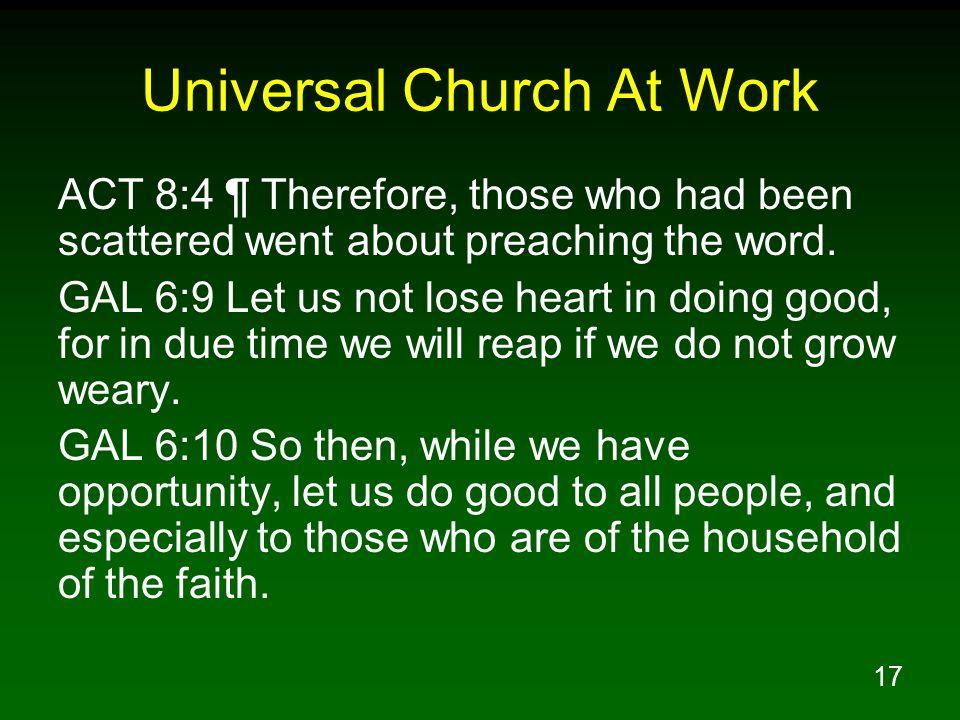 Universal Church At Work