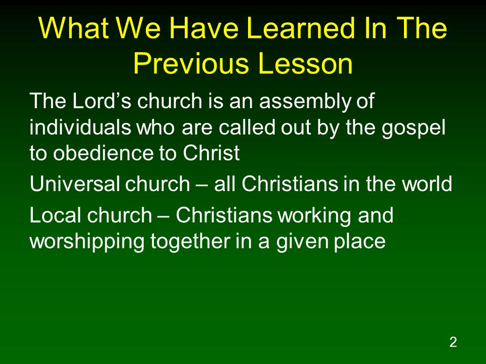 What We Have Learned In The Previous Lesson