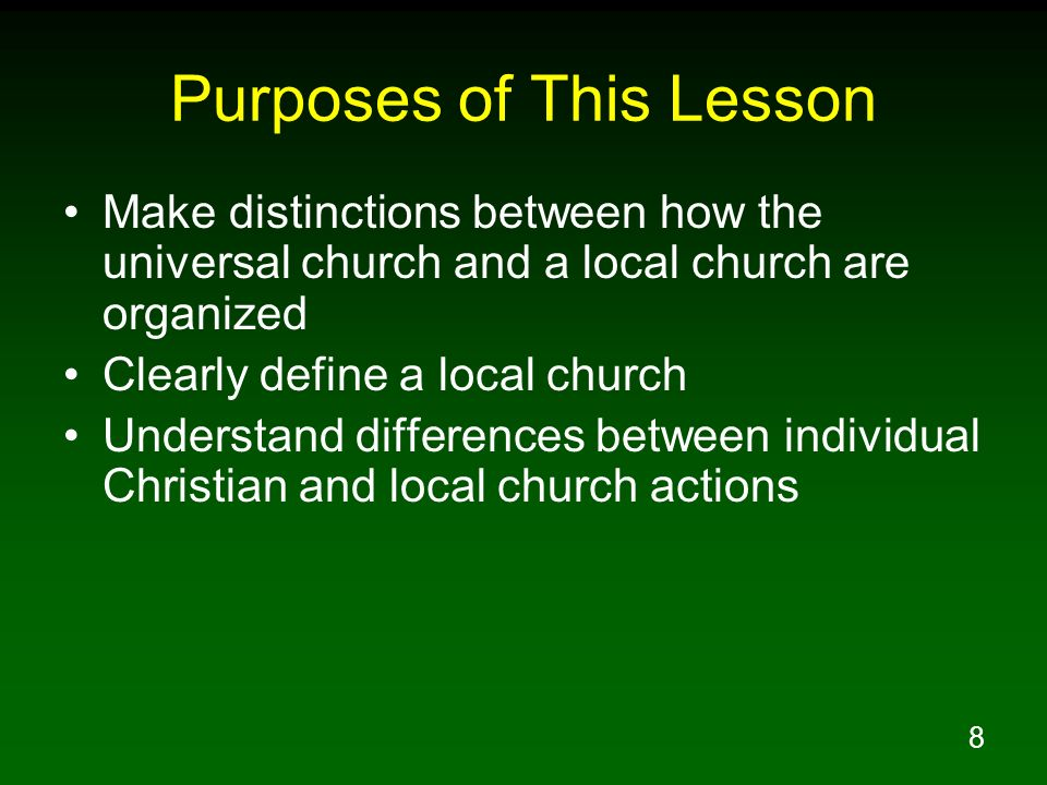 Purposes of This Lesson