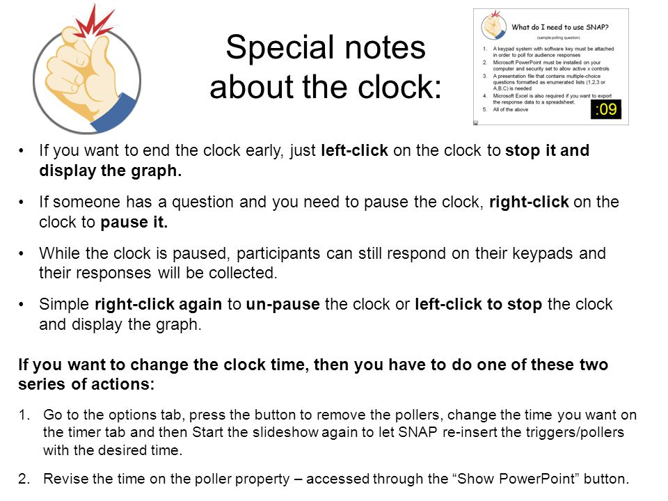 Special notes about the clock: