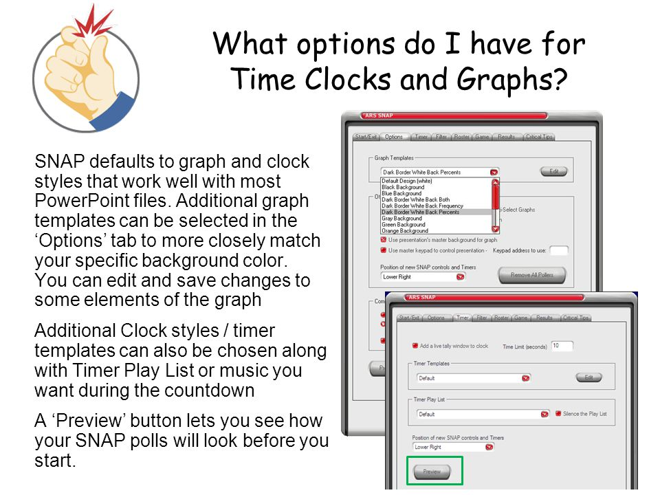 What options do I have for Time Clocks and Graphs