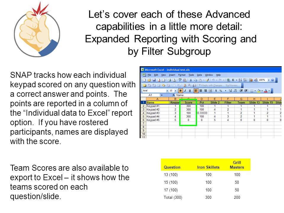 Let's cover each of these Advanced capabilities in a little more detail: Expanded Reporting with Scoring and by Filter Subgroup