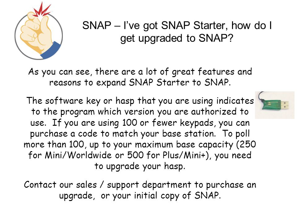 SNAP – I've got SNAP Starter, how do I get upgraded to SNAP