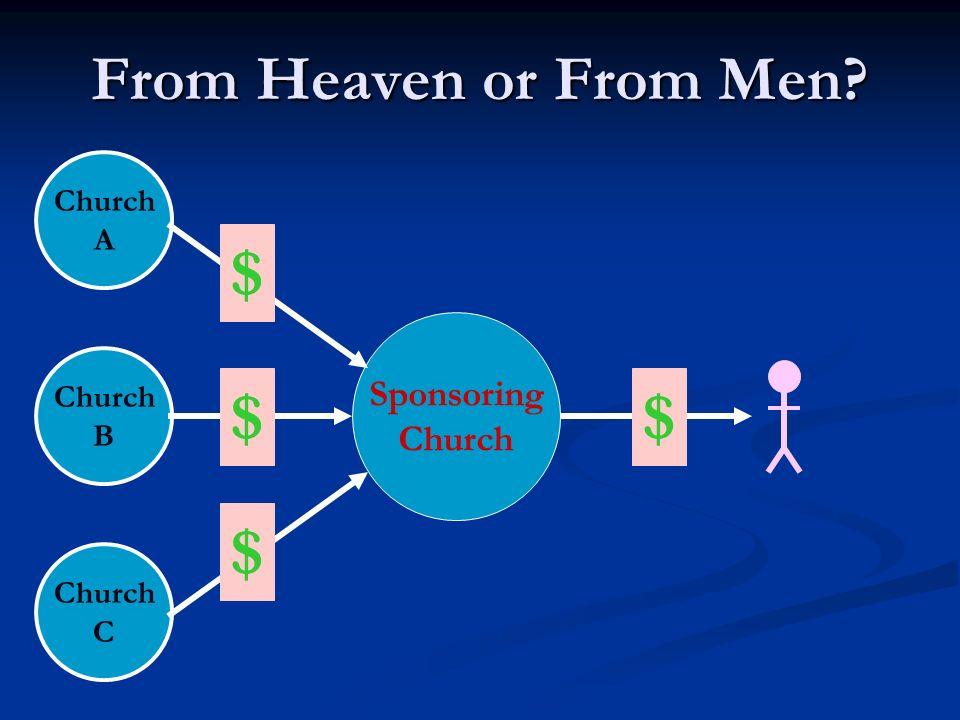 $ $ $ $ From Heaven or From Men Sponsoring Church Church A Church B