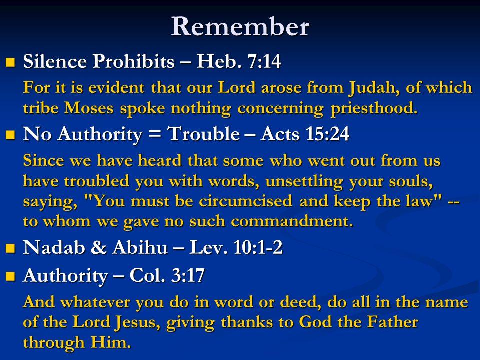Remember Silence Prohibits – Heb. 7:14