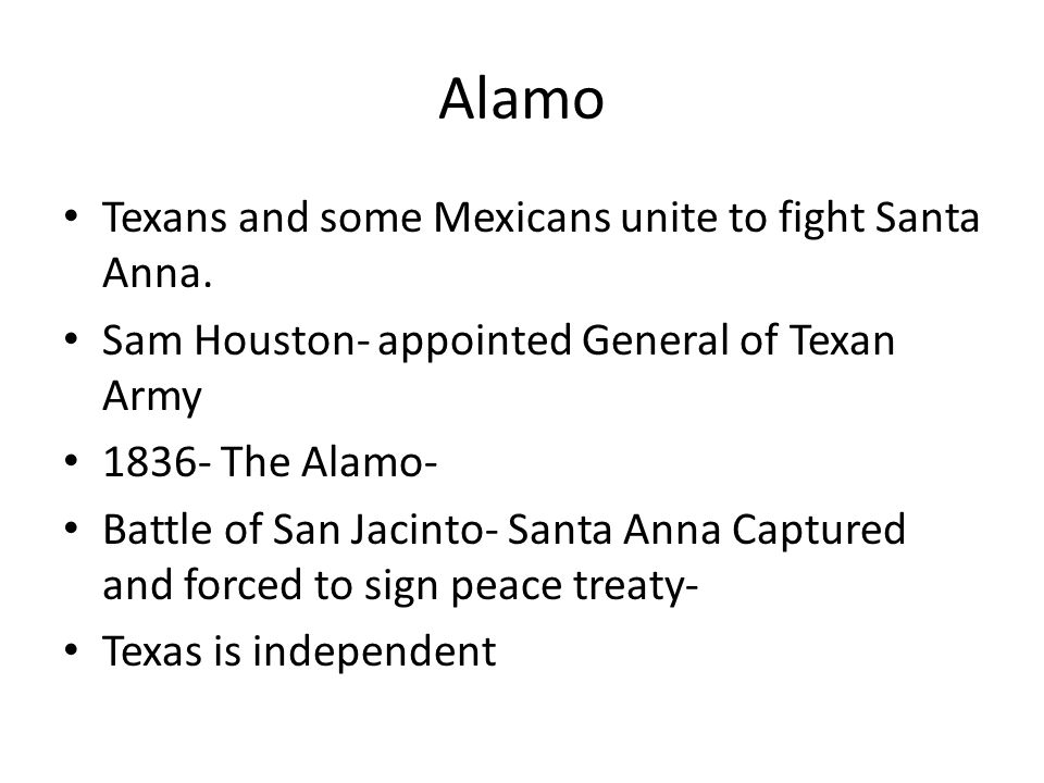 Alamo Texans and some Mexicans unite to fight Santa Anna.