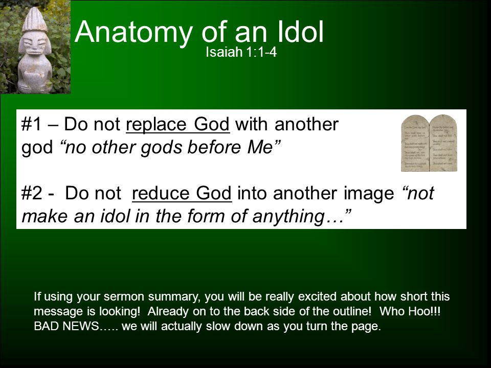 Anatomy of an Idol #1 – Do not replace God with another