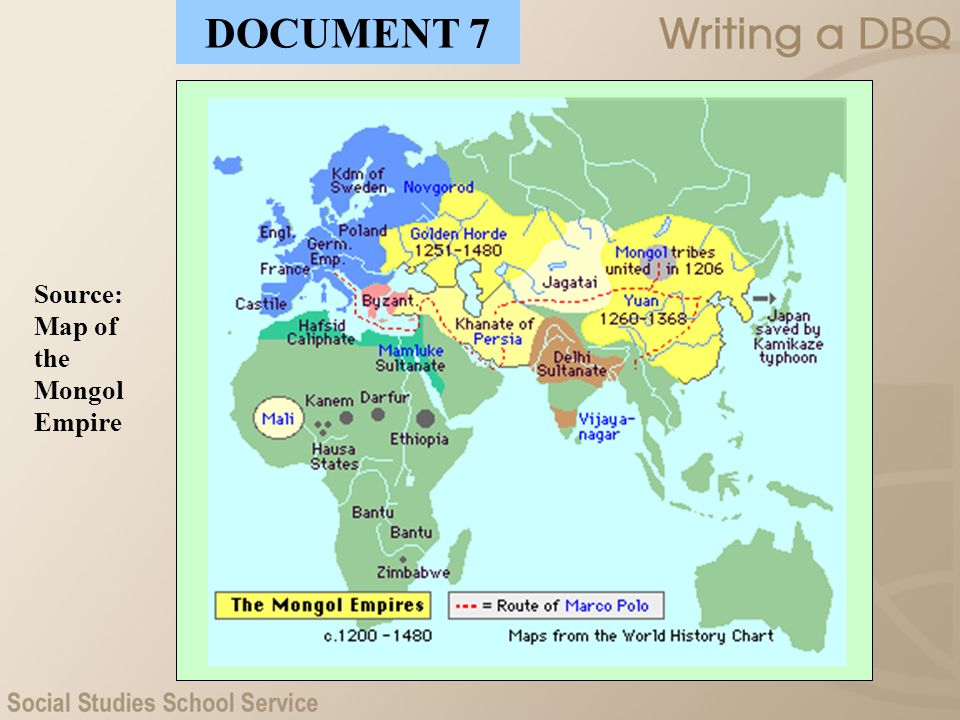 DOCUMENT 7 Source: Map of the Mongol Empire