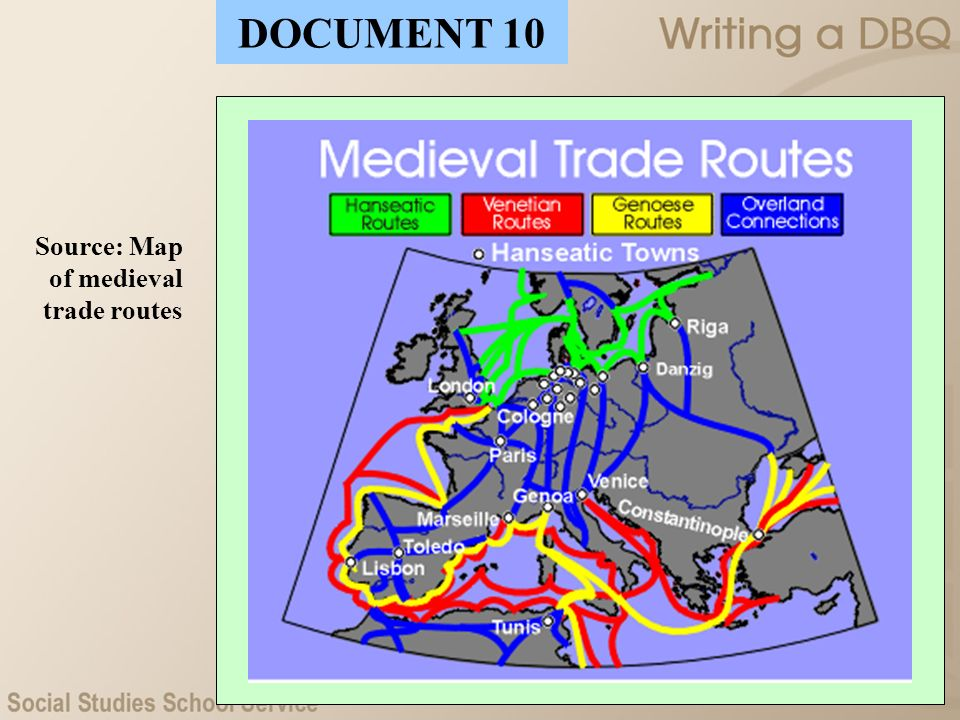 DOCUMENT 10 Source: Map of medieval trade routes