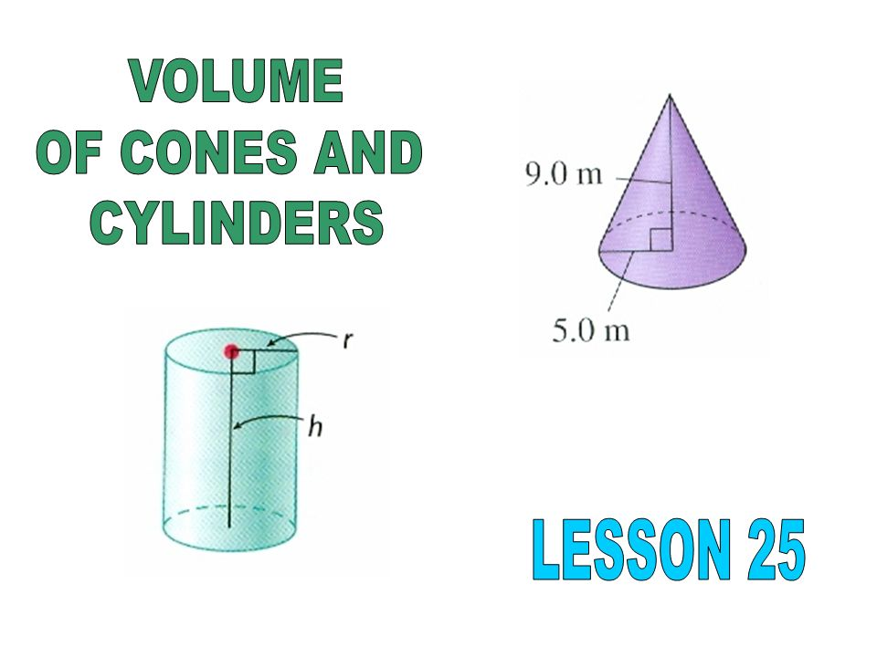 VOLUME OF CONES AND CYLINDERS LESSON 25