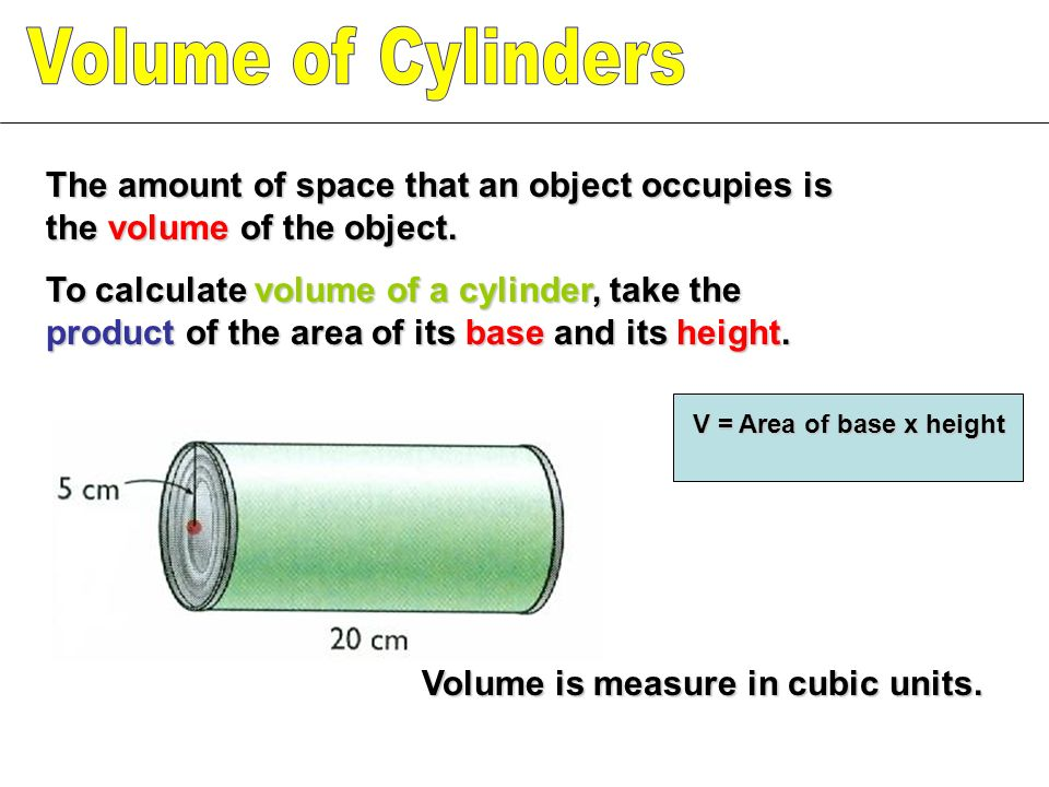 Volume of Cylinders The amount of space that an object occupies is the volume of the object.