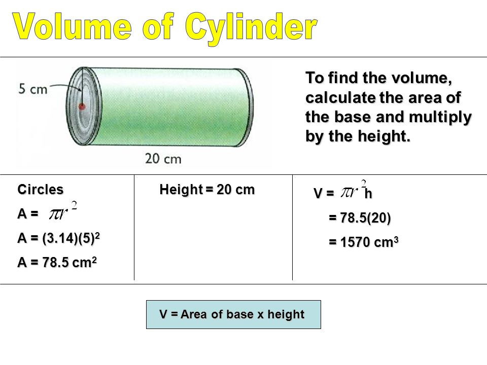 Volume of Cylinder To find the volume, calculate the area of the base and multiply by the height. Circles.