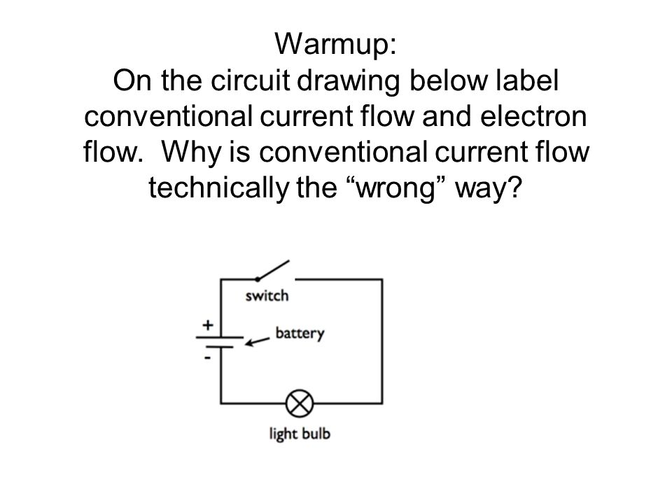 Warmup: On the circuit drawing below label conventional current flow and electron flow.