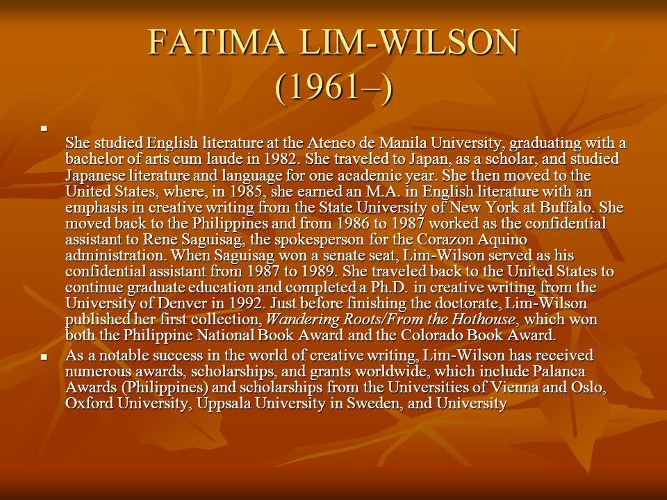 FATIMA LIM-WILSON (1961–)