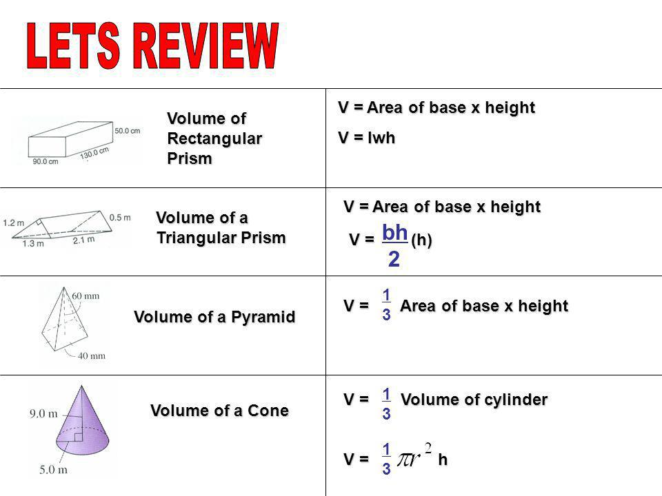 LETS REVIEW bh 2 V = Area of base x height Volume of Rectangular Prism
