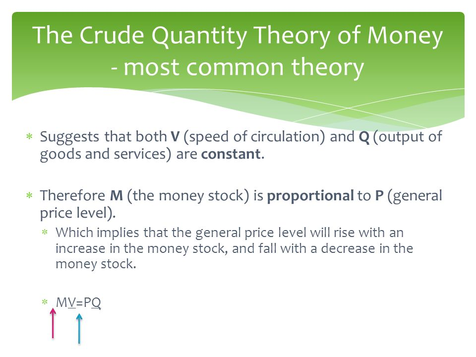 The Crude Quantity Theory of Money - most common theory
