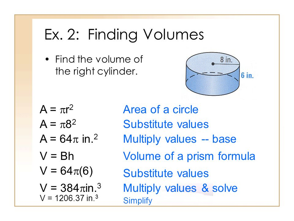 Ex. 2: Finding Volumes A = r2 Area of a circle A = 82