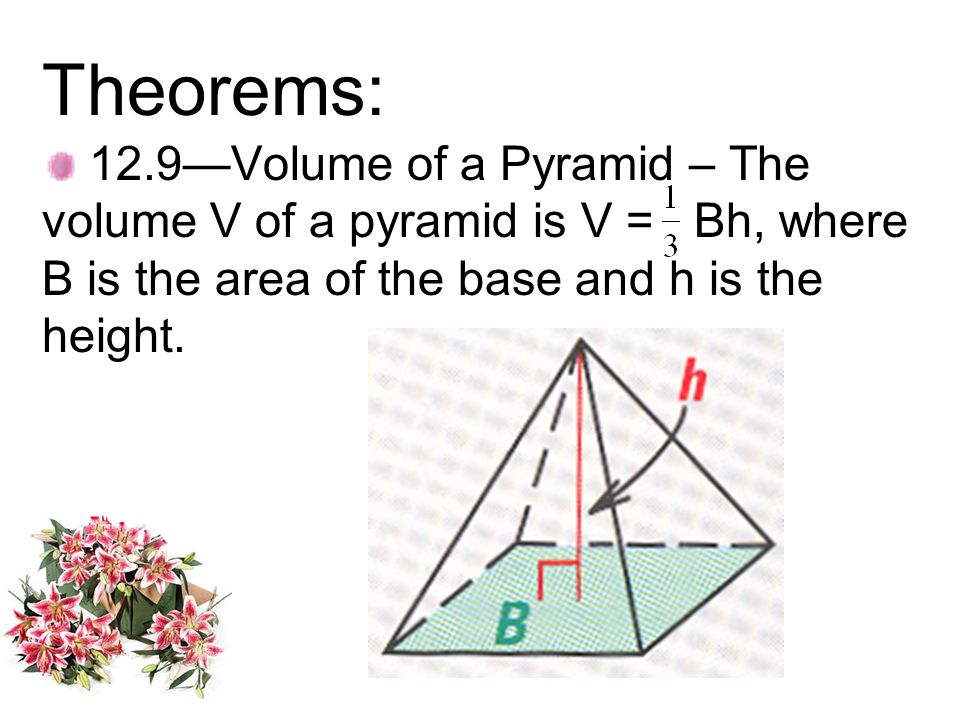 Theorems:12.9—Volume of a Pyramid – The volume V of a pyramid is V = Bh, where B is the area of the base and h is the height.